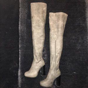 Women's gray thigh-high Jeffrey Campbell boots